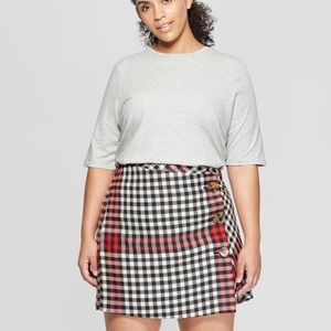 Who What Wear Red Plaid Button Mini Skirt